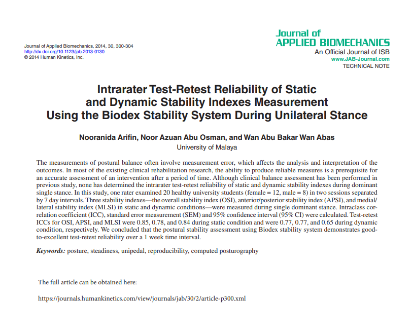 Intrarater Test-Retest Reliability of Static and Dynamic Stability Indexes Measurement