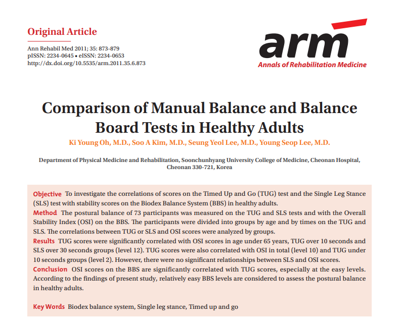 Comparison of Manual Balance and Balance Board Tests in Healthy Adults