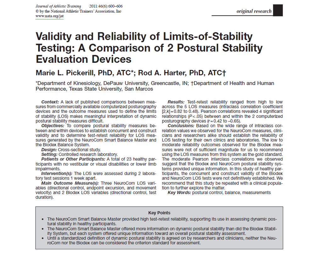 Validity and Reliability of Limits-of-Stability Testing: A Comparison of 2 Postural Stability Evaluation Devices